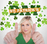 Girl in green tshirt giving thumbs up with st patricks day greeting