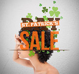 Text advertisement for st patricks day sale with girl looking into distance
