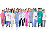Happy team of smiling doctors standing together