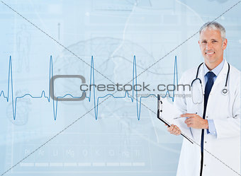Portrait of senior cardiologist using a clipboard