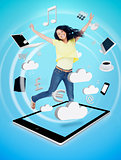 Smiling woman jumping on a tablet pc
