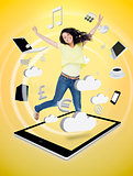 Cute woman jumping on a tablet pc