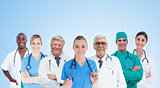 Medical team standing in line on blue background