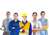 Group of people with different jobs standing arms folded
