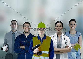 Group of smiling people with different jobs
