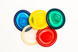 Five colourful condoms
