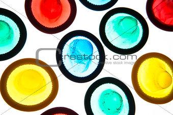 Brightly coloured condoms