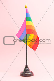 Gay Pride flag on stand