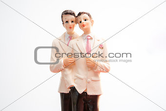 Gay groom wedding cake topper