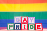 Blocks spelling gay pride