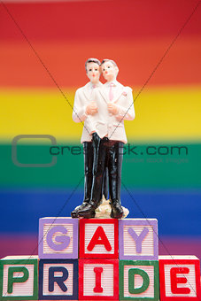 Gay groom cake topper on blocks spelling gay pride
