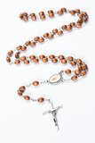 Wooden and silver rosary beads