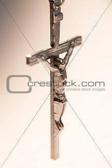 Close up of silver crucifix