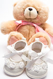 Teddy bear for a girl with white baby booties