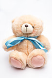 Teddy bear with blue ribbon
