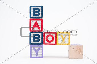 Blocks spelling baby boy