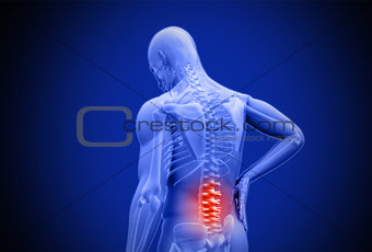 Digital blue human rubbing highlighted red lower back pain