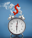 Smoking alarm clock with dollar signs