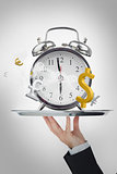 Waiter presenting time is money concept