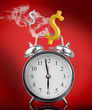 Smoking hot alarm clock with dollar signs