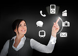 Businesswoman using circle interface of applications