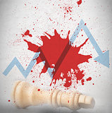 Blood spatter with loss arrow and fallen chess piece