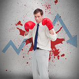 Businessman in boxing gloves against loss arrow and blood spatter