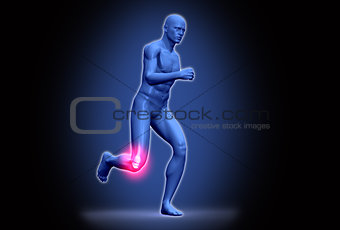 Digital purple body running with highlighted ankle
