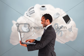 Happy businessman connecting to cloud computing
