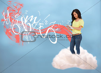 Casual girl connecting with cloud computing