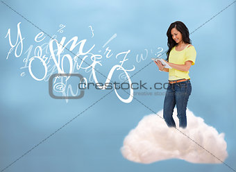 Casual happy girl connecting with cloud computing