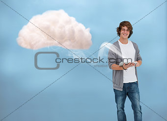 Young man connecting to cloud computing