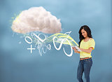 Casual girl using tablet to connect to cloud computing