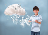 Young boy using tablet to connect to cloud computing