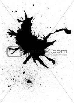 Black ink blob abstract design with splatter