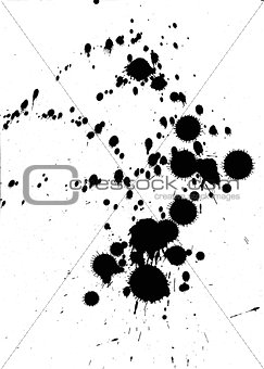 Black ink blobs and splatter