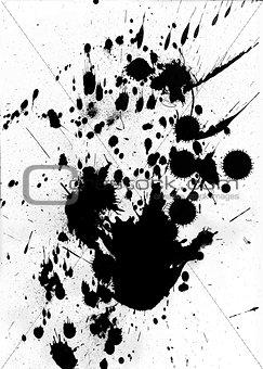 Black ink splash and splatter