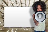 Girl with afro shouting through megaphone with white copy space