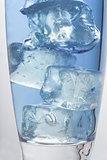 Close up on big ice cubes