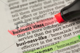 Business class definition highlighted in red
