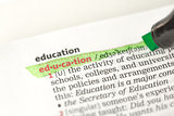 Education definition highlighted in green