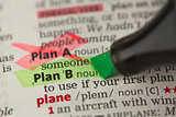 Plan B definition highlighted in green with Plan A marked