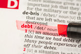 Debt definition highlighted in red
