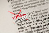 Problem definition word crossed out and replaced with solution