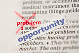 Problem definition word crossed out and replaced with opportunity
