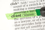 Client definition highlighted in green