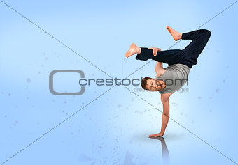 Break dancer doing handstand