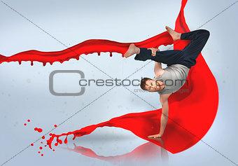 Break dancer doing a handstand