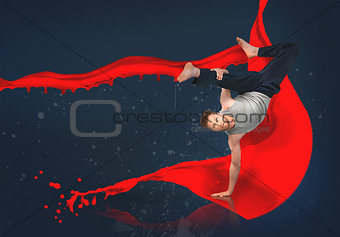Break dancer showing his agility