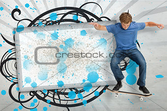 Skateboarder mid ollie in front of copy space screen